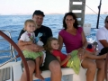Parent and children voyage in the Greek isles