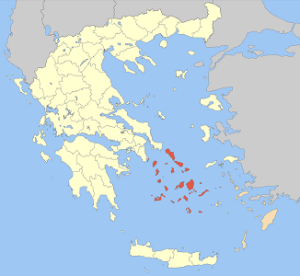 Cyclades island group in a map of Greece. Your sailing tour area