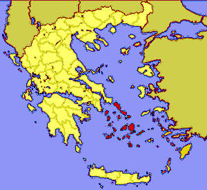 Cyclades island group in a map of Greece. Your sailing tour area. Sailing the Cyclades
